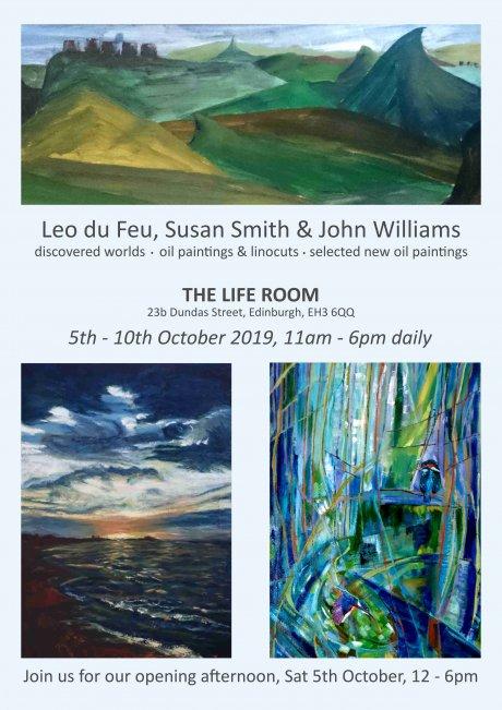 Leo du Feu, Susan Smith, John Williams - Life Room October 2019 exhibition poster