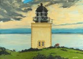 Holy Isle Outer Lighthouse, Soay sheep, 21x29cm