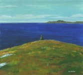 a walk at Sanna, looking to Muck, 10x11cm