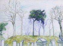 Inverurie graveyard, 20x27cm