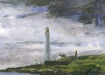 Scurdie Ness, lighthouse, 15x21cm