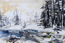Gynack Burn, snow & sun, 19x28.5cm
