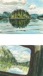 Port Hardy to Prince Rupert - green reflections, glassy water, 8x10cm & 7x10cm