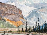Sentinel trees on the Sunwapta River, Looking to Mount Kitchener, Canadian Rockies, 15x20cm