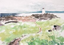 Isle of May, South Horn & East Lothian coast 14.5x20.5cm