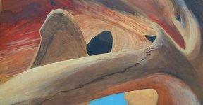 landscape series - 3 - a touch of blue, c.15x28cm