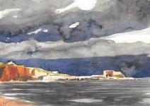 lime kilns, Boddin Point, 15x21cm