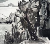 looking to Bass Rock, Isle of May, 24x28cm