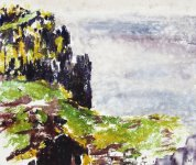 rainy day cliffs, Isle of May, 25x30cm
