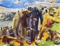 seabird cliffs, Isle of May, 31x41cm