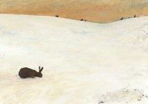 seven snow hares, 15x21cm