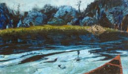 watching beavers at dusk, from our canoe, Killarney, 18x31cm