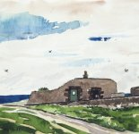 where swallows nest, old lightkeepers' washhouse, Isle of May, 14x14cm