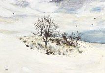 winter deer, 15x21cm