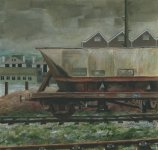 rolling stock at Inverurie, 14x15cm