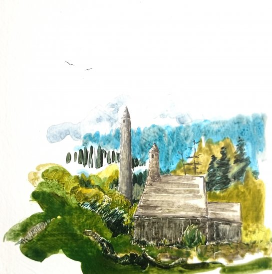 Glendalough monastic, 15x15cm