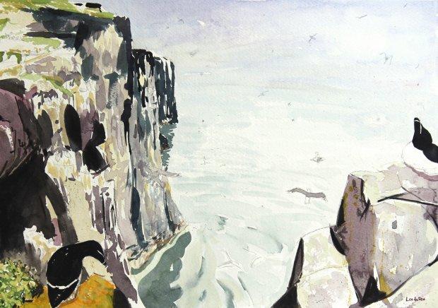 Isle of May summer cliffs, 26.5x38cm