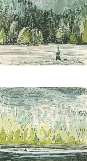 Port Hardy to Prince Rupert - beacon and boat, mists descending, 7.5x10cm & 8.5x10cm