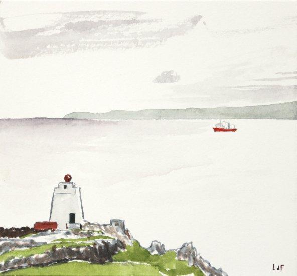 South Horn, red ship, 11x11cm ish