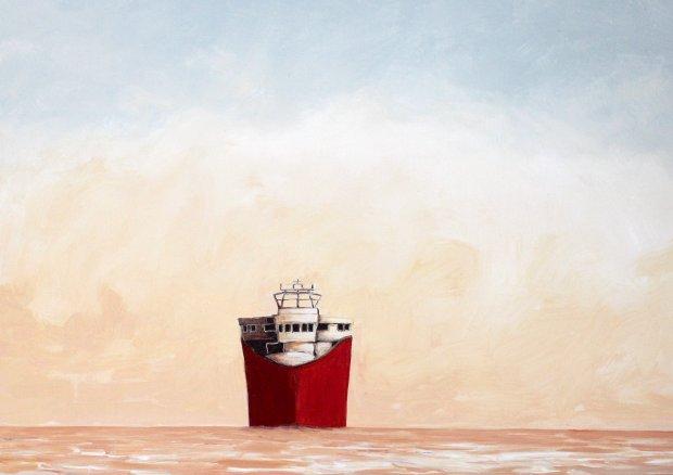red ship, 50x70cm
