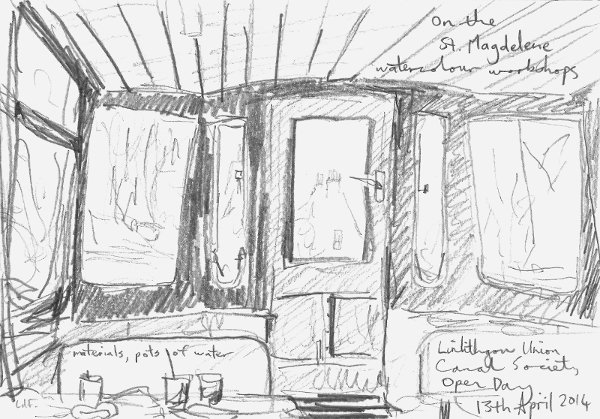 sketch workshops on board the St. Magdelene, Union Canal, Linlithgow