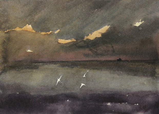 storm gannets, 15x21cm