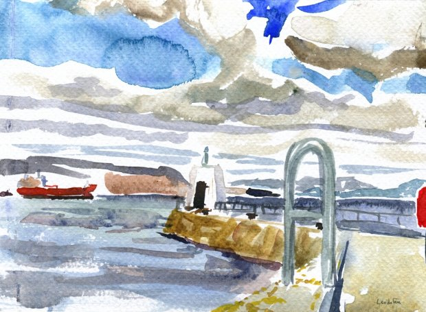 the pier at Nairn, 13x19cm